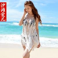 Cutout crochet shirt sexy one-piece dress tank dress beach dress female