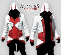 Red&White Free Ship Cosplay Costume Assassin's Creed III 3 Connor Conner Kenway Hoodie Jacket Coat New in Stock Retail Wholesale