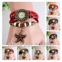Leather Vintage Cute Women Girls Watch Genuine Bracelet Wrist Watch Real Leather Sea Star Shapes Charms Watch