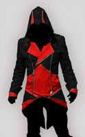 Free Ship Cosplay Costume Assassin's Creed III 3 Connor Conner Kenway Hoodie Jacket Coat  New in Stock Any Size  Red&Black