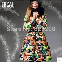 2013 Newest fashion women long down jacket, beautiful sun flower fancy fox fur down coat female women clothing,S-XXL