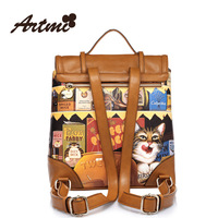 Free shipping Artmi cat vintage female double-shoulder print school bag