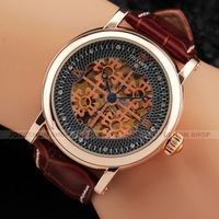 Noble  Men Rose Gold Case Hollow Lucky Clover Dial Brown Leather Sport Automatic Mechanical Wrist Watch U380