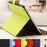 Free shipping 2013 Hot selling korea candy colour book bag for ipad5 case and multi-function for ipad 5 air cover  with sleep