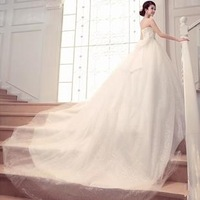New fashion a line beading belt remove jacket backless tulle wedding dress gown 2013