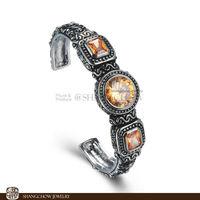 New! Stunning Fashion Jewelry 3 PCS Morganite Quartz 925 Sterling Silver Bangle B0009