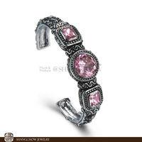 New! Stunning Fashion Jewelry 3 PCS Pink Kunzite Quartz 925 Sterling Silver Bangle B0008