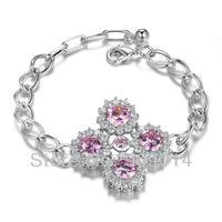 New! Stunning Fashion Jewelry 5 PCS Pink Kunzite Quartz 925 Sterling Silver Bracelet B0049
