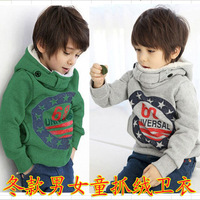 Free Shipping-2013 WINTER New Arrived  Boys Thickening Letters Hooded Fleece 100% Cotton Fashion And Warm 2Colors