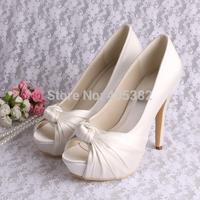 (14 Colors) Custom Handmade Ultra High Heels Platform Bridal Shoes for Women Ivory Satin Free Shipping