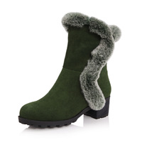 Genuine leather thermal thick velvet snow boots thick heel rabbit fur tube female boots dx69-9