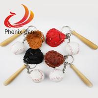 Baseball set Key Chains 5 set mixed lot mini Ball Cyan key chainvbaseballl key chain