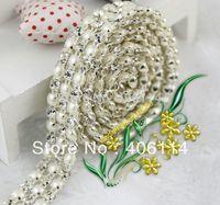Wholesale  3 Rows Clear Crystal Rhinestone Ribbon Diamond Pearl Wraps Sew 1Yard