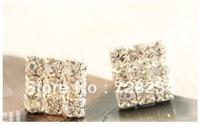 Min.order is $15 (mix order) Accessories full rhinestone sparkling diamond brief elegant square stud earring