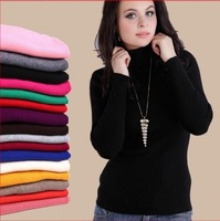 Plus size Female slim pullover turtleneck sweater basic pullovers solid color tight thick oversized cashmere sweaters for women