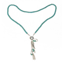 long chain turquoise silver plated wing pendant necklace turquoise bead  necklace sterling silver long necklace for women