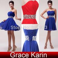 Elegant Off Shoulder Slim Girls Women Short Chiffon Red,Blue Cocktail Party Dresses Crystal Beaded Prom Cute Mini Dresses CL4792