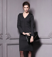 Free shipping high quality Autumn and winter New Victoria Beckham same style v-neck elegant and sexy Epaulette one-piece dress