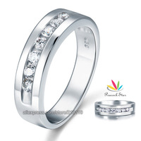 Men's Created Diamond Wedding Band Solid Sterling 925 Silver Christmas Present Gift Ring CFR8057