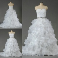 DMW064 Dreamaker sweetheart sheath bodice ruffles organza beaded belt ball gown wedding dresses 2014