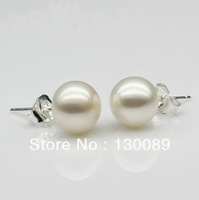White AAA Wholesale Lots Natural Freshwater Cultured Pearl With 925 Sterling Silver Stud Earrings Unice Gifts Free Shipping