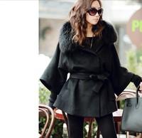 Free Shipping Fur Collar Women's Long Black Coat Fur Jacket Wool Clothes