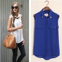 New fashion womens' sexy sequined stud collar blouse shirt vintage sleeveless long blouse elegant casual brand designer tops