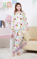 Winter Women's Pajamas Sets Fleece Print Sleepwear Set Long Sleeve Sleep Lounge Homewear for Ladies Shirt+pants Free shipping