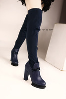 Free shipping New 2013 Women Motorcycle Boots Over  Knee Boots with Spikes High Heel Shoes Women Snow Boots f