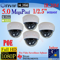 FREE SHIPPING,Bulk Price!!!W921bG-B-POE,CCTV Security Full HD 1080P Indoor 5MP ONVIF H.264 Dome IP Cam POE Power Over Ethernet