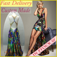 2014 Real Photoes Bohemia Sexy Colorful Long Evening Cocktail Party Dresses Printed Open Back Hi-Lo Fast Delivery Satin WC104