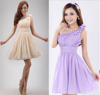 2015 new arrival summer purple and blue The bride married one shoulder dress bridesmaid dress short oblique party dress