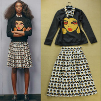 Fashion women's 2014 New vintage cartoon pattern casual sweatshirt & half-skirt twinset casual skirt suit