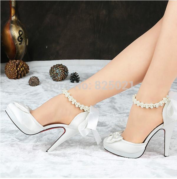 Bridesmaid White Wedding High Heel Shoes