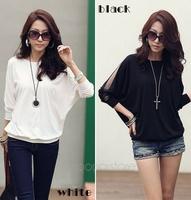 New Women's Cotton Loose Shirt Top Dolman Batwing Lace Long Sleeve Shirt Blouse for Women Black / White , Free Shipping