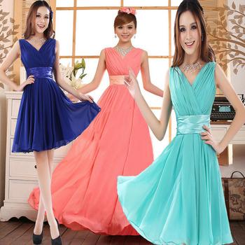 2014 Короткий Шифон evening dress V - образный вырез party dresses