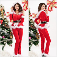 3Pc Dear Lover Long Sleeves Red Velvet Christmas Zip Jacket with Hood Marabou Trims+Pants+Belt Sexy Carnival Santa Costume 7200
