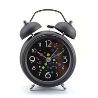 "Black Vintage Metal Magic Cube Style Double Bell Desk Table Alarm Clock 3"""