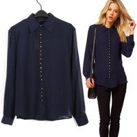 New 2013 Autumn Winter Women's European American Style 23 Metal Buckle Long-Sleeved Shirt Collar Chiffon Casual Blouses S,M,L