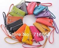 Free Shipping 10 Colors Hight Quality PU+Genuine Leather Key Wallet Multifunction Unisex Organinzer Purse Key Holder 14*9cm