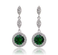 New Arrival Emerald Green Round Zircon Dangle Earrings Fashion Elegant Jewelry AAA Cubic Zirconia Stud Earrings