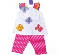 Wholesale Children Girls Summer Clothing Set  Kids Floral Dot T shirt+Pants 2 pieces Clothes Set 3sets/lot