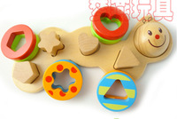 Elc  Wood Caterpillar Geometry shape Building blocks Baby Educational Toys Girl and Boy 18 months - 3 years