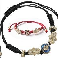 2 Piece Mixed Color Hamsa Hand Bracelet Turkey Blue Eyes Charm Kabbalah Adjustable Bangle Jewelry