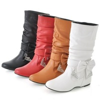 Big size 34-43 Hot 2013 New Fashion flat Low Wedges boots for women, snow boots and women Spring winter shoes Bow XB791