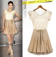 Free shipping women's 2013 summer fashion chiffon one-piece dress female sleeveless dress lace with waist rope S M L XL XXL