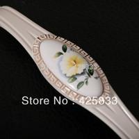 10pcs 96mm Ceramic Ivory Flower Camellia Dresser Handles European Rural Hardware Knob Children's Furniture White Pulls