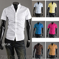 Men 's clothing short - sleeve shirt slim male trend of the Men' s clothing solid color casual shirt 17 color free shipping