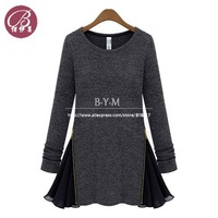 BAIYIMEI Brand Autumn Slim Round Neck Fleece Long-sleeved Knit Dress Women Clothing Casual Chiffon Dresses Free Shipping