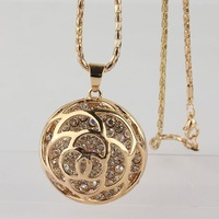 "18k Yellow Gold Filled Round Red Austrian Crystal 30"" Sweater Chain Pendant Necklace"